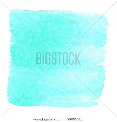 Abstract watercolor art hand paint isolated on white background. Watercolor stains. Square aquamarine watercolor banner