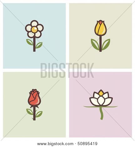 flowers set of icons vector illustration