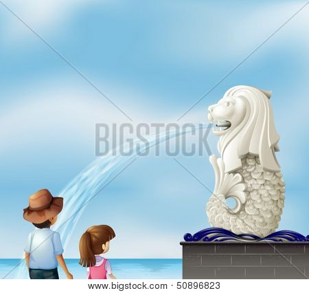 Illustration of the two kids near the statue of Merlion
