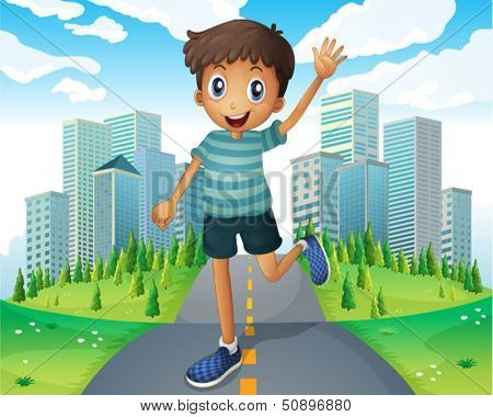Illustration of a boy waving while running in the middle of the road