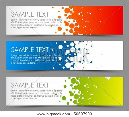 Simple colorful horizontal banners - with circle motive - red, blue and green