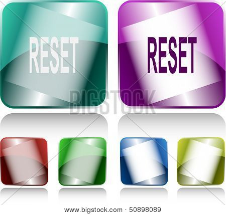 Reset. Internet buttons. Raster illustration.