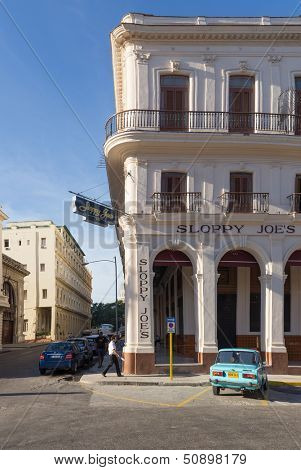HAVANA, CUBA-SEPTEMBER 10:The historic Sloppy Joe's bar September 10,2013 in Havana. Reopened in 2013 after being closed for 48 years it was, during the 1940s and 1950s, a magnet for American celebrities