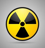 pic of radioactive  - Round nuclear symbol isolated on grey background - JPG