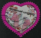 France - Circa 2003: A Stamp Printed In France Shows A Heart By Emanuel Ungaro, Circa 2003