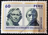 Peru - Circa 1981: A Stamp Printed In Peru Shows Tupac Amaru And Micaela Bastidas, Circa 1981