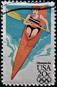 Usa - Circa 1984: A Stamp Printed In Usa From The Los Angeles Olympics 1984 Issue, Showing Canoeing