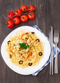 pic of brest  - Pasta with chicken brest on a plate - JPG