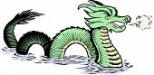 picture of serpent  - Old map style illustration of a sea serpent breathing mist - JPG