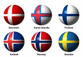 Collage of Scandinavian flags with labels