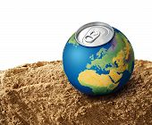 foto of water shortage  - Thirsty planet Earth on dry soil sand water shortage concept - JPG
