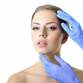 stock photo of collagen  - Beauty treatment of the young beautiful female face - JPG