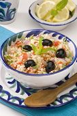 stock photo of tabouleh  - Tabouleh salad in a ceramic bowl - JPG