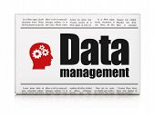 Information news concept: newspaper with Data Management and Hea
