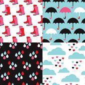 Seamless boots and umbrella rain illustration background pattern set in vector