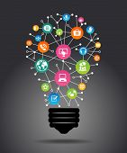 Modern infographic template. Creative light bulb with application icon. Business software and social