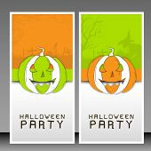 Halloween tags or banners with scary pumpkins.
