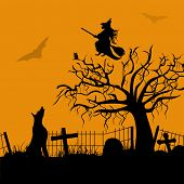 Scary Halloween night background, banner or poster for trick or treat party.