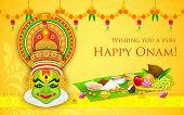 picture of onam festival  - illustration of colorful Kathakali dancer face for Onam celebration - JPG