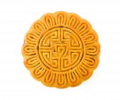 Single mooncake isolated on white