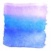 Abstract watercolor art hand paint isolated on white background. Watercolor stains. Square purple-bl