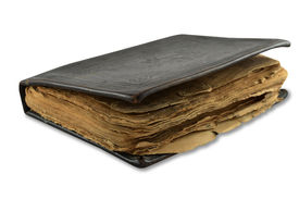pic of leather-bound  - old leather book isolated on white backgrounds - JPG