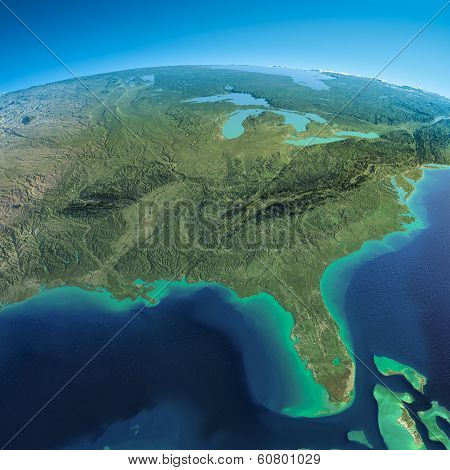 Detailed Earth. Gulf Of Mexico And Florida
