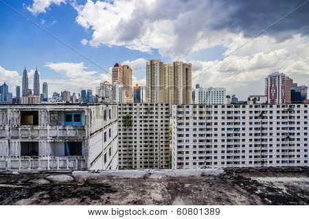 View At Kuala Lumpur From The Roof Of Abandoned  Building