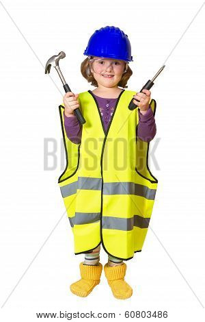 Little smiling plumber in a reflective vest and helmet with hammer and screwdriver