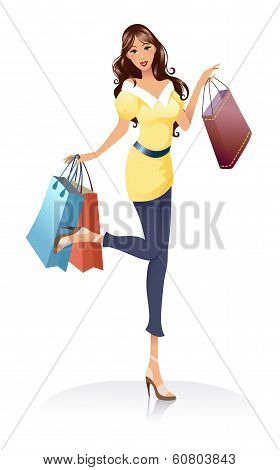 Young Fashion Girl With Shopping Bags