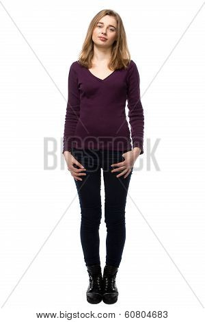 Attractive Slender Woman In Black Tights