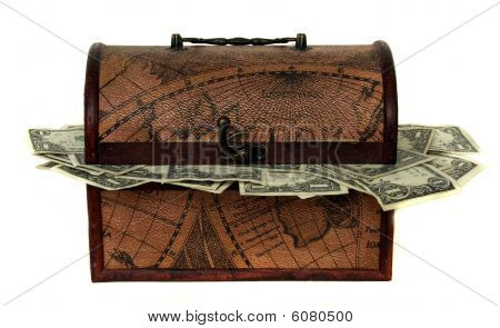Treasure Chest Stuffed With Money
