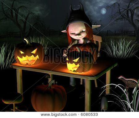 Carving Halloween Pumpkin Lanterns - with background