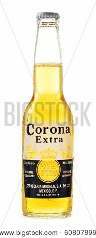 Bottle Of Corona Extra Beer Isolated On White