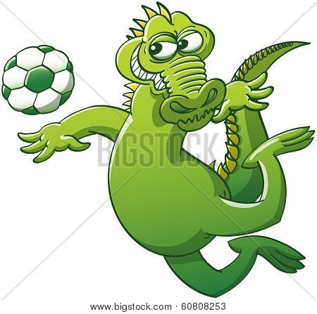 Brave alligator heading a soccer ball