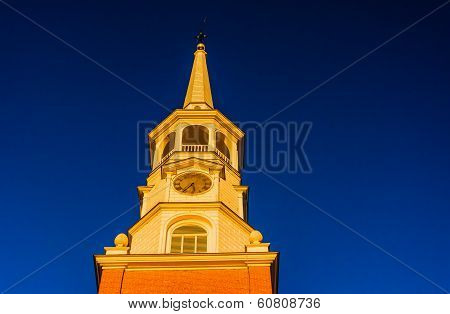 Evening Light On The Steeple Of A Church In York, Pennsylvania.