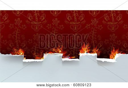 Ripped paper background and flames
