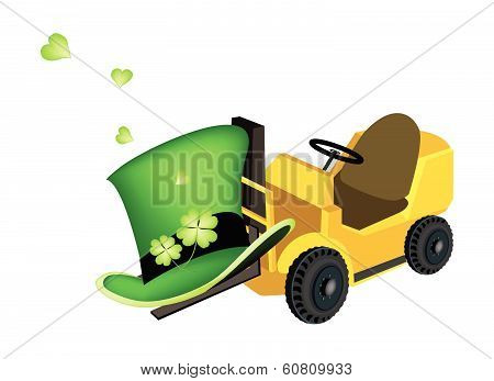 Yellow Forklift Truck Loading Four Leaf Clovers