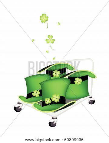Hand Truck Loading Four Beautiful Green Hats