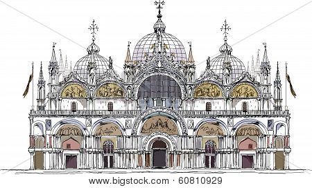 Venice San Marco square, Venice illustration sketch collection