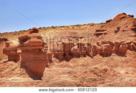 Mushroon Shaped Hoodoos Goblin Valley State Park Rock Canyon Utah