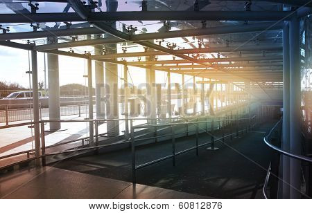 LONDON, UK - MARCH 23, 2014: Stansted airport glass tunnel, details of contemporary airport interior