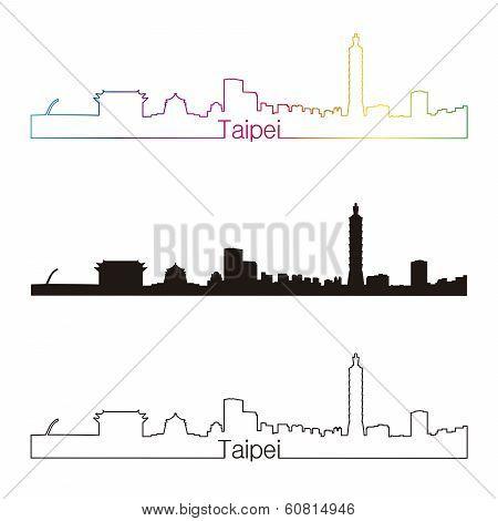Taipei Skyline Linear Style With Rainbow