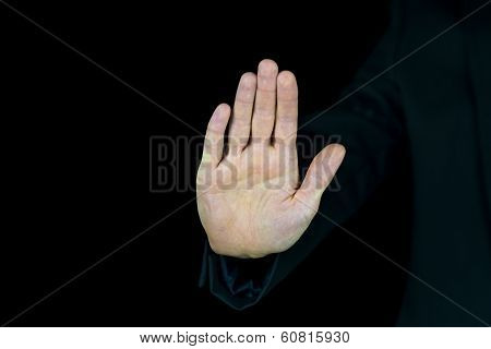 Palm Of A Male Hand On A Black Background