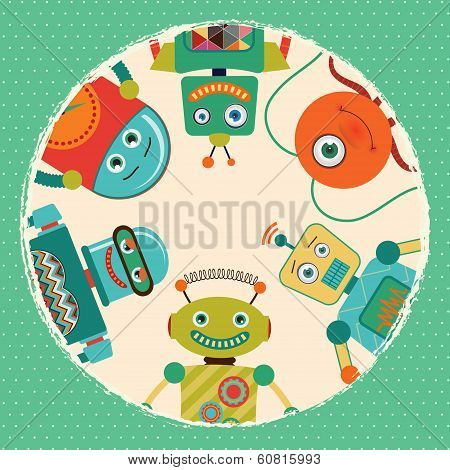 Vector Retro Robots Card Illustration