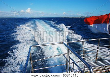Boat Travel Back View Indonesian Flag