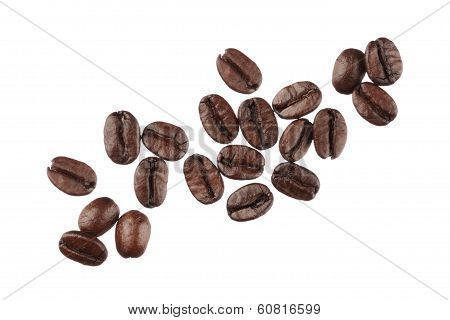 Coffee Beans Isolated On White Background Close Up