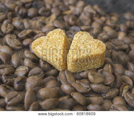Coffee Beans, Pots, Cinnamon on Dark Background