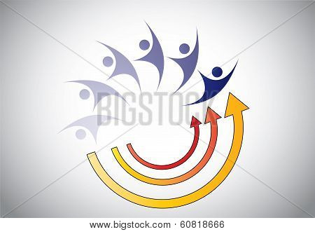Happy Young Person Man Woman Energy Recovery Abstract Concept