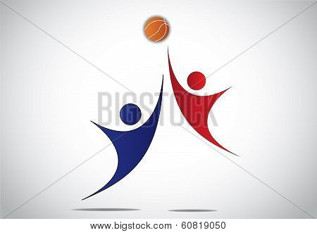 Two Young Players Boy & Girl People Playing Basket Ball Concept
